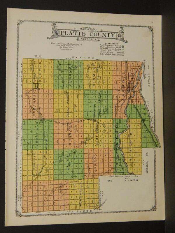 Nebraska Platte County Map 1923   W5#36
