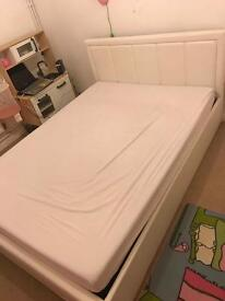 Leather Double bed with memory foam mattress