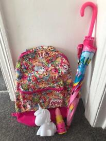 Shopkins Backpack- My Little Pony Umbrella- Nightlights