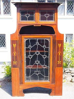 Stunning Art Nouveau Mackintosh Style Antique Display Cabinet Maghogany Rosewood
