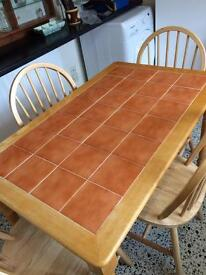 Pine tiled kitchen table (chairs not included)