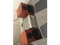 denon hifi with pure solid wood loudspeakers
