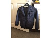 Boys Navy McKenzie coat with hood, size 6/7 years. In immaculate condition. From smoke free home.