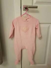 Pink Losan velour babygrow