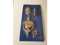NEW Brass door knocker bell plate and door stopper