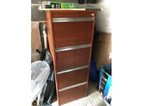 Filing Cabinet, four draw mahogany filing cabinet with key to lock all draws.