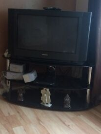 Black shine effect shelf with 28inch tv stand freesat box great for people just starting out