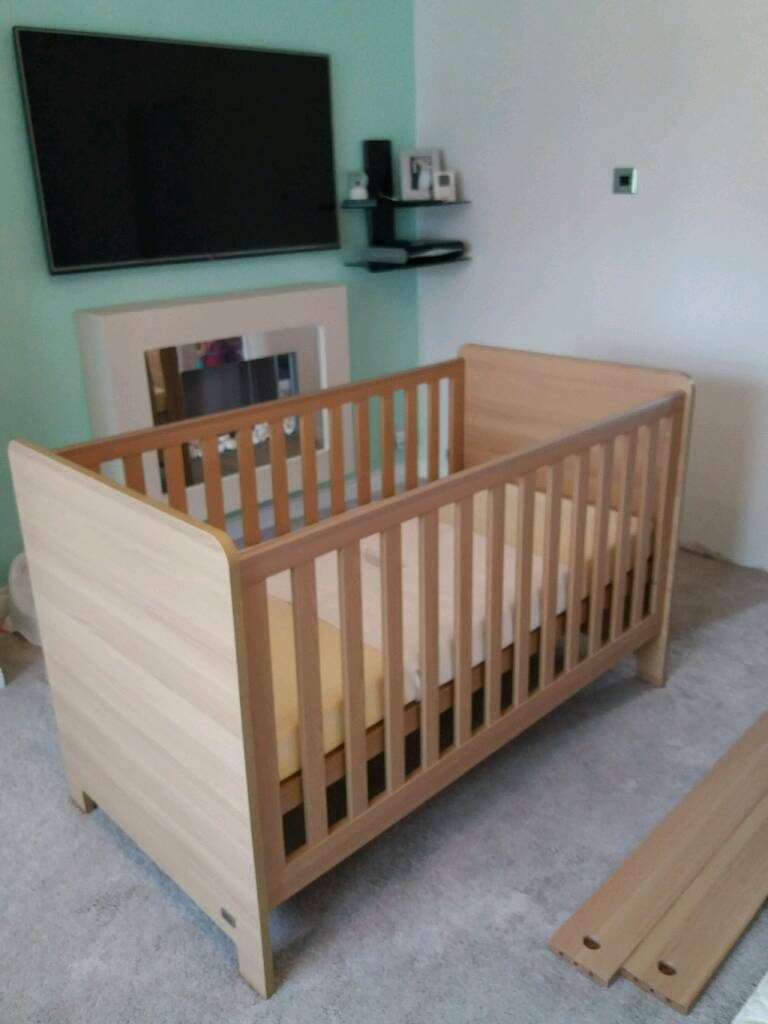 Cot bed, changing draws and mattress haxby beach mamas and papas