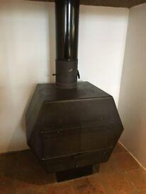 Retro hexagonal wood burning stove