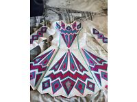 Irish Dance Dress - White Pink and Blue Paul Keith Younger Dancer