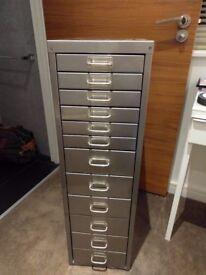 12-Drawer Bisley Metal Cabinet