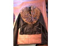 Girls Newlook 12/13yrs faux leather biker jacket mint