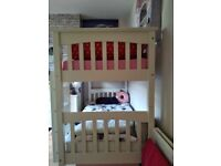 SOLD White wooden bunk beds and mattresses SOL