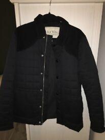 Black couldroy padded smart coat jack wills