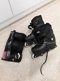 No Fear Aggressive skates (UK 9) and protective equipment (L)