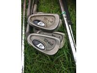 Right hand golf clubs including ping and bag