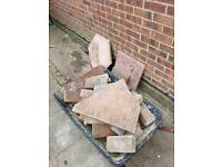 Rubble, bricks and slabs