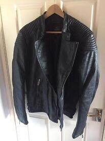Scotch & Soda Mens Black Leather Jacket size XL