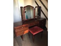 Dressing table with mirror ( fixed ) and stool . VGC