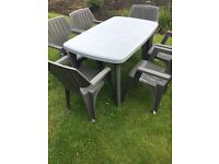 Patio table with six sturdy chairs..,