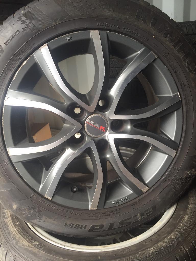 """Honda Nissan Hyundai Toyota 16"""" mak slloys tyres"""