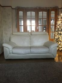 Cream/White 2 Seater Leather Sofa