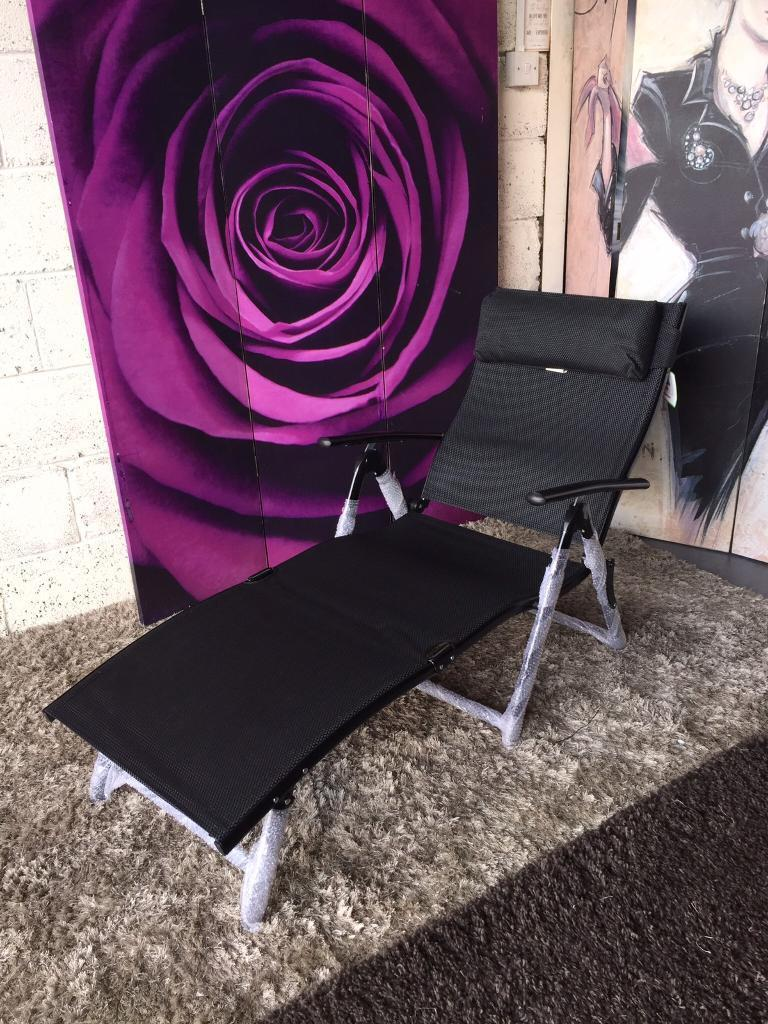 New and Boxed Havana Black Recliner Sun Lounger