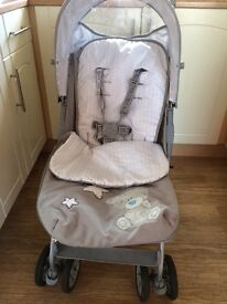 Buggy, bath seat and toys