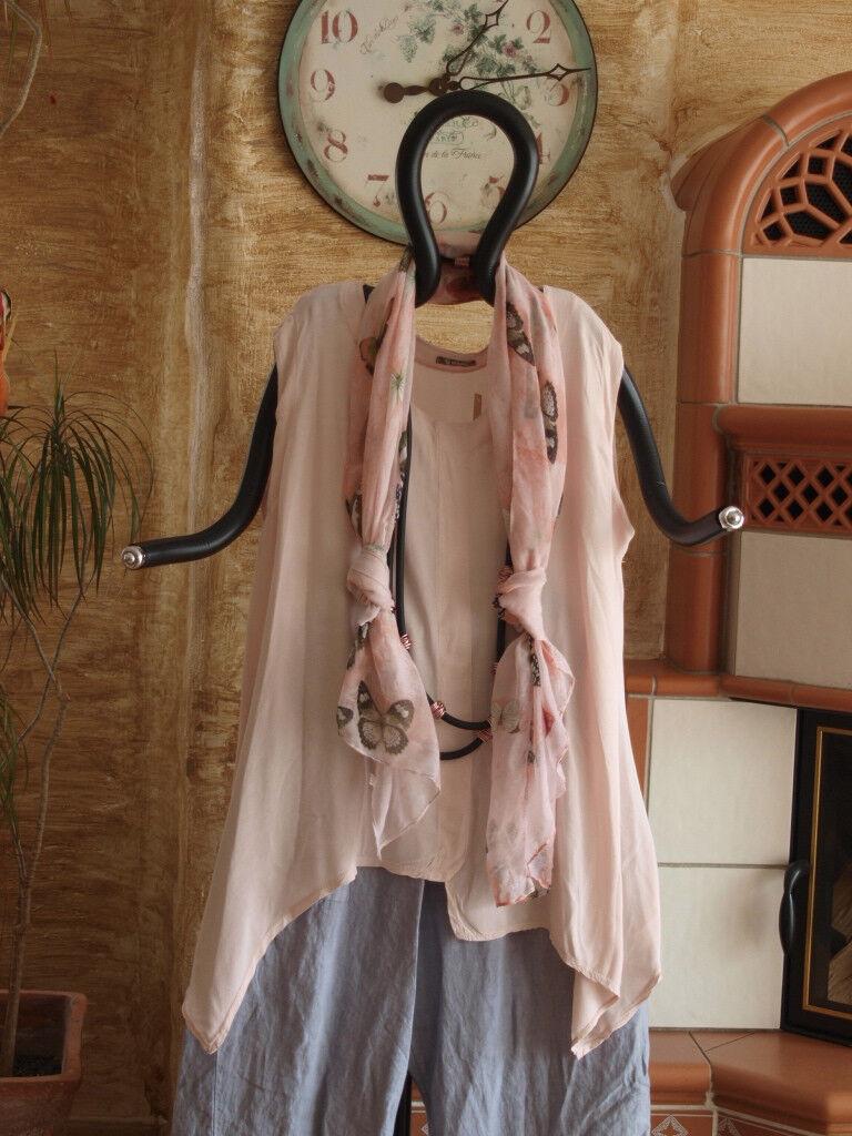 8048 LABASS Lagenlook Basics 2016 �rmelloses Zipfel Top rose rosa Gr. XL 48 50