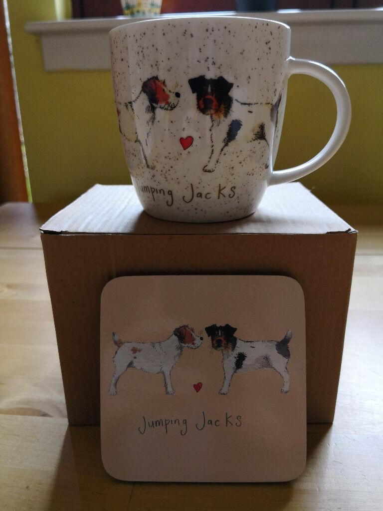 Jack Russell Fine China Mug and Coaster Set