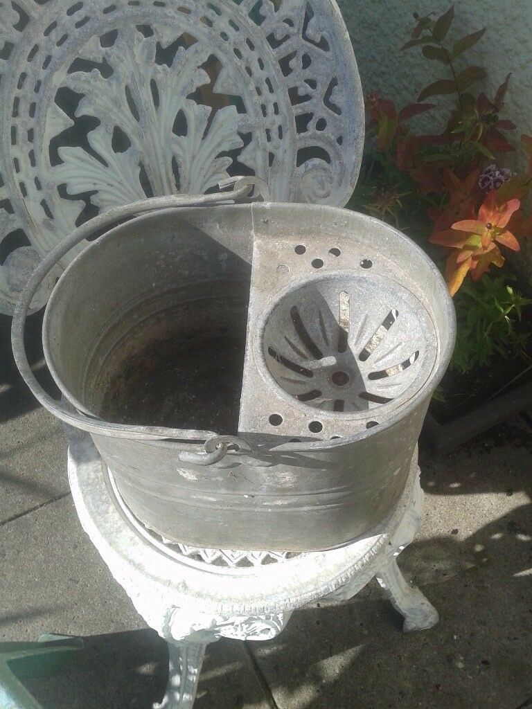 Vintage galvanised mop bucket
