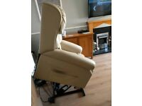 Cream Real Leather Rise and Recline Chair with Heat and Massage