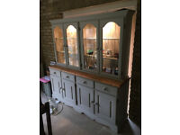 Display dresser; solid pine wood; glass cupboards with lighting;