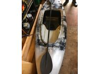 Ten foot grey and white kayak with oars and jacket good condition