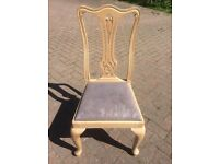 Four Bespoke Dining Chairs - Upholstered Solid Wood