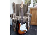 Strat style Electric Guitar with Headstock Logo