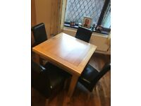 Soild oak dining table & 4 leather chairs