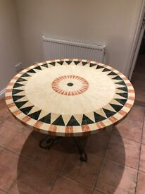 Stone mozaic table (indoor or out) round table, fits 4/5 adults excellent condition barely used.
