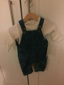 BNWT M&S baby boy dungarees and top