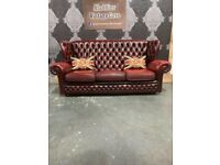 Fantastic Chesterfield 3 Seater Monk Back Sofa in Oxblood Red Leather - UK Delivery