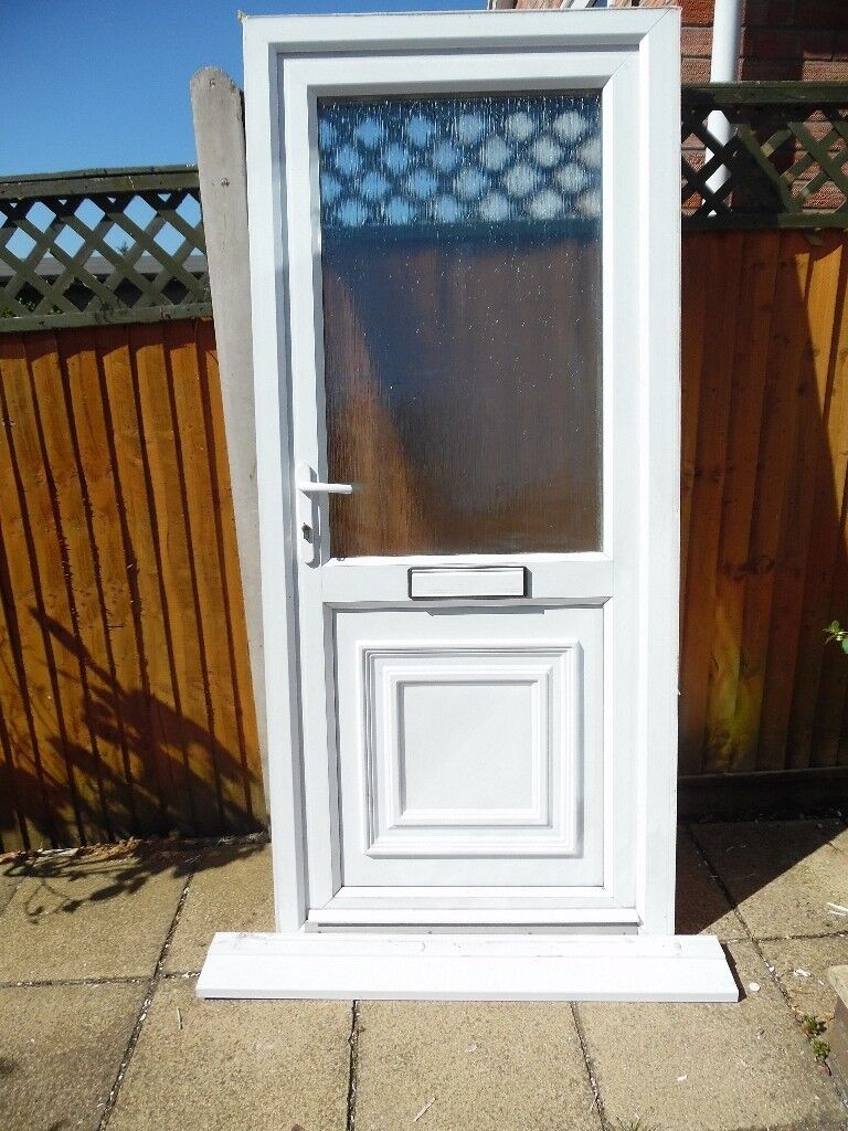 White upvc double glazed front door in norwich norfolk - Upvc double front exterior doors ...