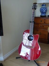 Ovation Celebrity Electro Acoustic Guitar. Cherry Red. Good Condition with soft case