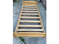 Single pine solid bed low level