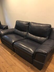 DFS Directors Electric Reclining Contrast Blue 2 & 3 Seater Sofas