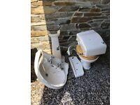 White Bathroom Suite Jacuzzi Bath, Pedestal Basin & WC
