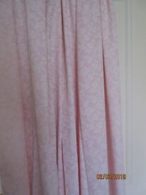 CURTAINS BY CHRISTY - PINK AND WHITE POLYCOTTON WITH LININGS
