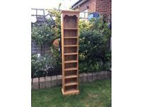 Heavy, Quality, Tall, Solid Waxed Pine Shelf Unit - Wooden Shelves.