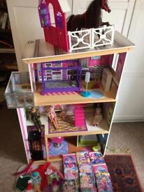 Barbie Bundle ELC large wooden dolls house, horse, dolls, 10 DVDs