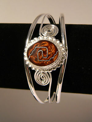 Silver Wire Wrapped Spiral Cuff Bracelet,Wire & Cafe Brown Resin Filled Cabochon