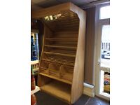 Large Freestanding Wooden Bakery Bread Stand with Mirror